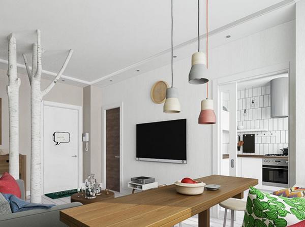 將玄關隔欄轉換成樹干造型,延伸到客廳墻面的壁畫,成為整個居家空間的