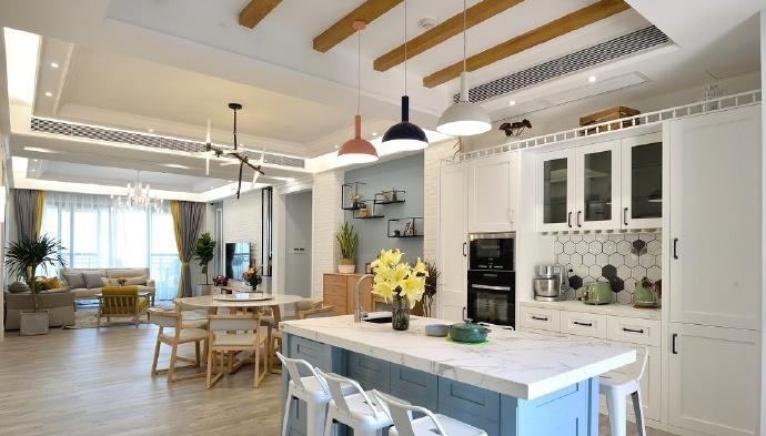 晒晒新家,112㎡黄白北欧风设计,时尚又前卫,吧台太好看了